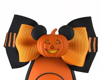"""Pumpkin Mickey Mouse Magic Band  Bow or Apple Watch Bow, 2"""" Mini Hair Bow, Planner Bow - Halloween Collection"""