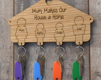 Wall Mounted People Shaped Keyring Hanger Mothers Day Unique Gift Present Mum