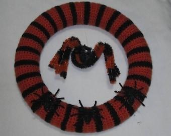 Halloween Striped Black and Orange Spider Wreath, Door Hanger, Wall Hanging, Black and Orange, Housewarming Gift