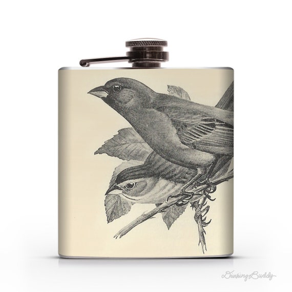 Vintage Indigo Bunting Birds- 6oz Hip Flask - Bird Theme