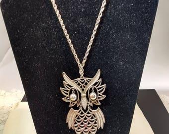 Quirky Retro Era Owl Pendant Necklace Googely Eyes,Fringe Chain Tassel #B992