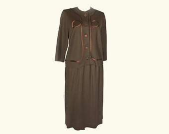 Vintage Women's Suit, 1960's, Brown Polyester, Satin Trim, Boxy Jacket, Collarless, Three Quarter Sleeves, Small/Medium