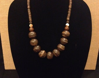 Handmade Striped Wood Necklace