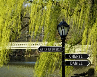 Personalized Wedding Gift New York City Central Park Bow Bridge Romantic Anniversary Gift Customized pp182