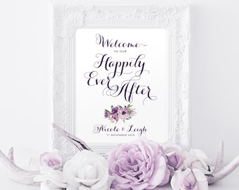 Welcome to our Happily Ever After Sign | Various Sizes | Add Your Names | Vintage | Eggplant | I Create and You Print