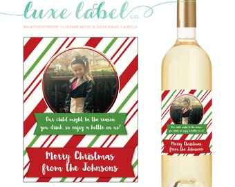 """Teacher Christmas Wine Label """"Personalized Teacher Gift"""" """"Teacher Wine Label"""" Teacher Thank You Gift """"Our Child May Be The Reason You Drink"""""""