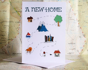 New home card, relocation card, moving home card, moving card, housewarming card