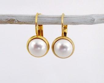 Gold Leverback Earrings, Leverback Earrings, Earrings Leverback, Gold Earrings, Pearl Leverback Earrings,Pearl Earrings, Pearl Earrings Gold