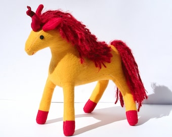 Firestar Fantasy Plush Unicorn Toy ~ Firestar Superhero Colors, Comic Book Character, Marvel Comics, Unicorn with Firestar Color Scheme