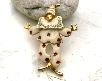 Vintage Enamel Clown Brooch Pin with Rhinestones and Jointed Waist
