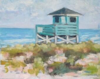 Original Oil Painting Florida Seascape Lifeguard Tower