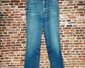 Vintage 70's Men's Jeans Waist 31 Inch Pants Rigolletto Faded Denim Wide Leg Hippie Retro