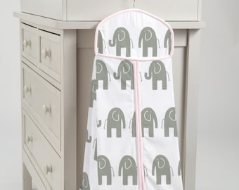 Carousel Designs Pink and Gray Elephants Diaper Stacker
