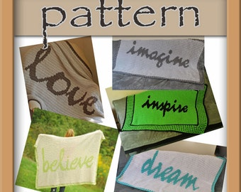 PATTERN PACK - 5 Afghans - love, believe, inspire, imagine, dream - Instant Download
