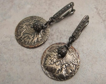Raw Pave Diamond and Reticulated Sterling Silver on Copper Disk Earrings - Storm and Earth Elements - by Silla - PDRSDE3