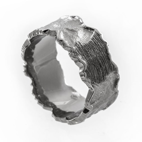Mens wedding band rugged wedding ring mens hammered wedding