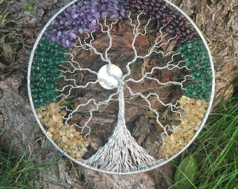 Family tree wall art, Thoughtful wedding gift, Unique gift for mother, Tree of life decor, Crystal suncatcher, Wire tree-of-life, Wife gift