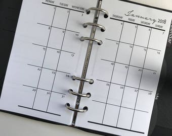 Monthly On 2 Pages Single Sided Printed Planner Inserts - Personal Size - Grid or Dot Grid | Sleek