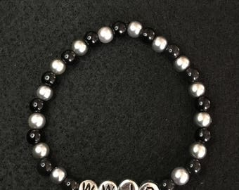 "Silver and Black ""Message Beads"""