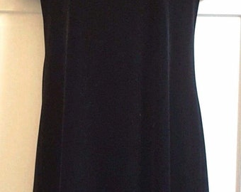 John Roberts Black Velvet Dress Rhinestone Neckline