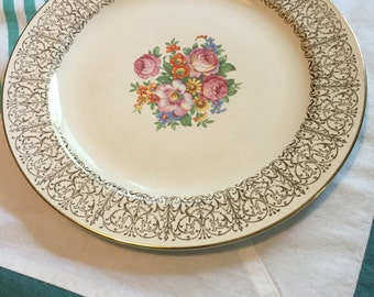 Vintage Salad Plate Newell Floral Gold Filigree Nautilus Homer Laughlin Made in The USA #3988