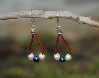 Leather N Pearl Earrings, Brown Leather Earrings, Leather Earrings, Fresh Water Pearl Earrings