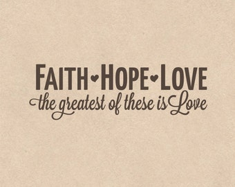 FAITH HOPE LOVE, vinyl wall quotes, wall quote decal, religious decals, I Corinthians 13:13, religious wall decal, faith decal, bible quotes