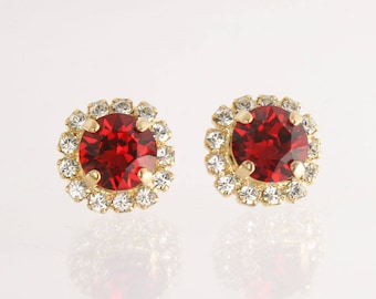 ruby pave crystal red drop elements earrings swarovski small