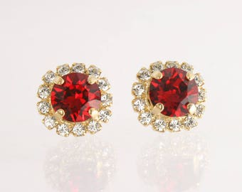 lead crystal deep nickel gold hoop tone free black swarovski drop red earrings