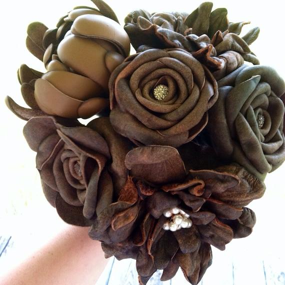 Bridal Bouquet Leather Flower Bridal Bouquet