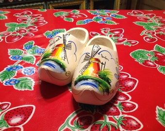 Vintage white Dutch wooden shoes with hand painted windmill designs