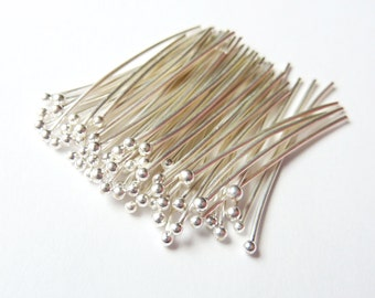 100pcs - 24 Gauge -  Fine Silver Headpins - Pick Your Length - Tagt Team
