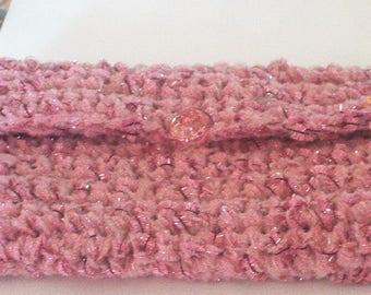 Elegant pink wool hand crochet pouch