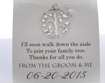 Mother of The Groom Necklace - Mother of the Groom Gifts - Family Tree - Wedding Gifts -  Wedding Jewelry - Mother of the Groom Presents
