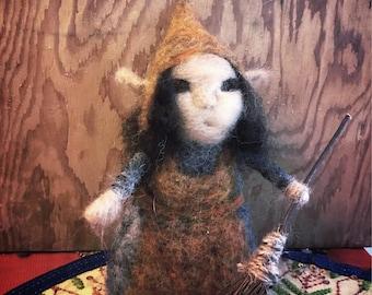 Needle felted elf fae fairy wee folk woodland