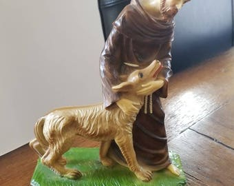Saint Francis and the wolf of Gubbio...vintage statue.....excellent condition...marble