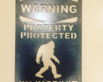 Warning Property Protected By Bigfoot --- Metal Sign FREE SHIPPING