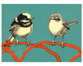 BIRD COUPLE 12x16 (Giclée Print of Original Ink + Gouache Painting)