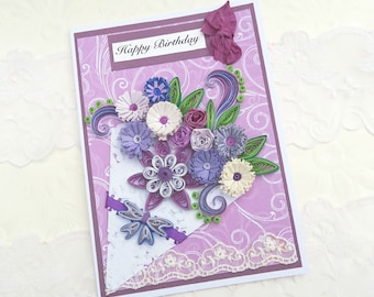 Paper Quilling, Card, Paper Quilled,happy Birthday, Purple Lilac Lavender Flowers, Paper Doily Mom,Lace Keepsake, Handmade Australia