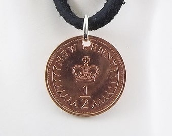 Small England Coin Necklace, 1/2 New Penny, Coin Pendant, Leather Cord, Mens Necklace, Womens Necklace, Coin Jewelry, Birth Year, 1974