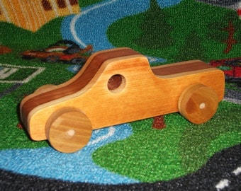 Handmade wooden 2-tone toy pickup truck
