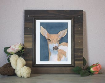 "Watercolor Art Print ""Doubtful"" - Piebald Deer"