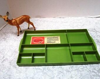 1 Vintage Large Green Plastic Divided Tray, Glama-Ware, Vanity Organizer, Feminine Boudoir Dresser Accessory, Hard Plastic Shabby Chic NOS
