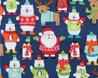 215887 navy blue fabric with Santa reindeer polar bear makower uk Novelty Xmas