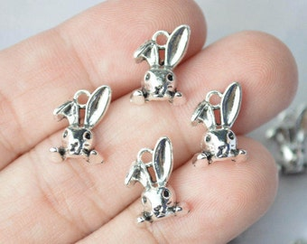 10 Pcs Rabbit Head Charms Bunny Charms Antique Silver Tone 9x13mm - YD1802