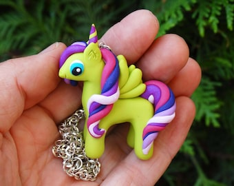 litlle Unicorn Necklace,Polymer Clay Unicorn Necklace,Kawaii Necklace,Horse Lover,Gift for Her,Birthday Gift,Kids Jewelry,Litlle Pony