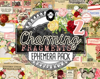 Junk Journal Ephemera- Charming Fragments P2- Ephemera Pack - 5 Pg Instant Download printable diary pack, vintage junk journal, diy journal