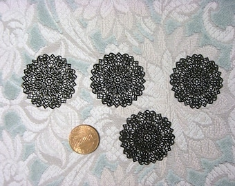Laser Lace Filigree Brass Jewelry/Craft Component, 35mm, Plated Black (3)