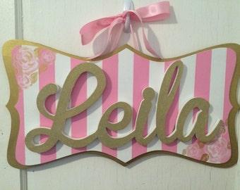 Custom Mounted Glitter Girls Name Sign - Cursive Name Sign - Custom Girls Name Sign