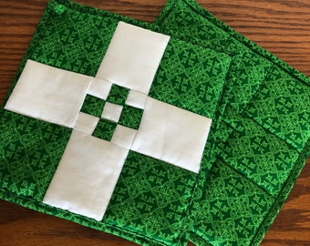 Lucky 9 Pot Holders / Quilted Pot Holders / Hot Pads / St Patrick's Day / Cotton Quilted Pot Holders / Quilted Hot Pads